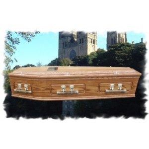 Solid Oak Raised Lid Panel Coffin - Outstanding Quality